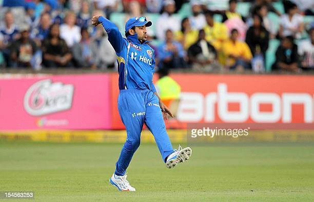 Rohit Sharma of the Mumbai Indians gestures on October 22 2012 during a Champions League T20 match Sydney Sixers vs Mumbai Indians in Durban AFP...