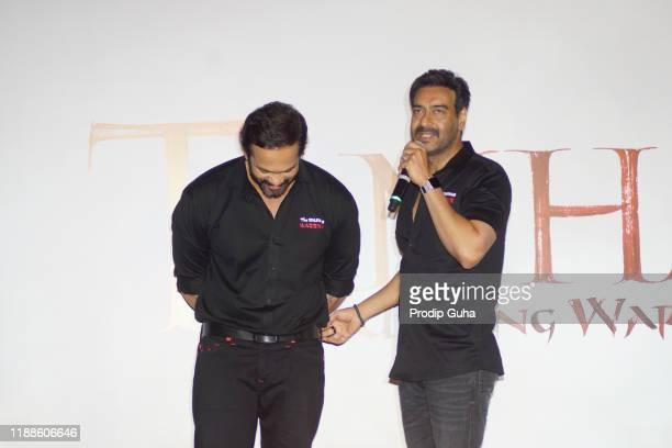 "Rohit Shetty and Ajay Devgan attend the trailer launch of ""Tanhaji The Unsung Warrior"" on November 19, 2019 in Mumbai, India."