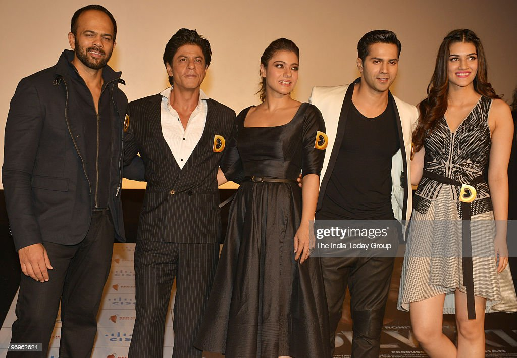 Rohit Shetty Shah Rukh Khan Kajol Varun Dhawan and Kriti Sanon at the trailer launch of their movie DILWALE in Mumbai