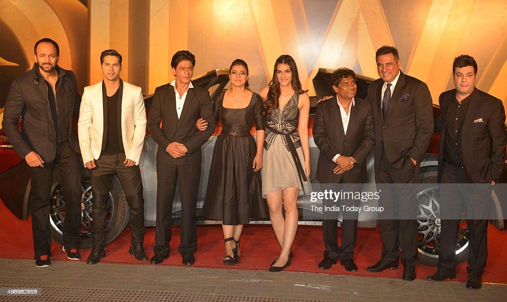 Rohit Shetty Varun Dhawan Shah Rukh Khan Kajol Kriti Sanon Johnny Lever and Boman Irani at the trailer launch of their movie DILWALE in Mumbai