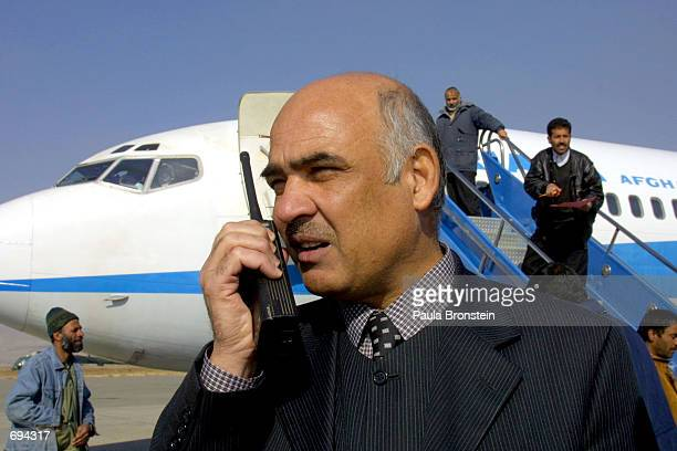 Rohullah Aman the President of Ariana Afghan Airlines talks to the control tower at Kabul Airport before the airlines'' first international flight in...