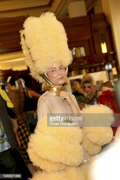 Roisin Murphy backstage ahead of the Pam Hogg Show during London Fashion Week September 2018 at Freemasons Hall on September 14 2018 in London England