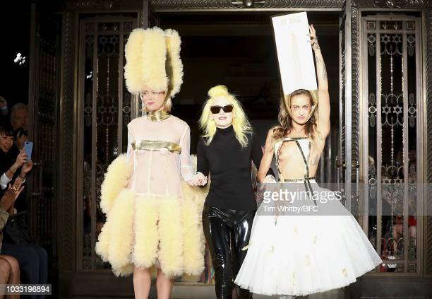 Roisin Murphy Pam Hogg and Alice Dellal walk the finale of the Pam Hogg Show during London Fashion Week September 2018 at Freemasons Hall on...