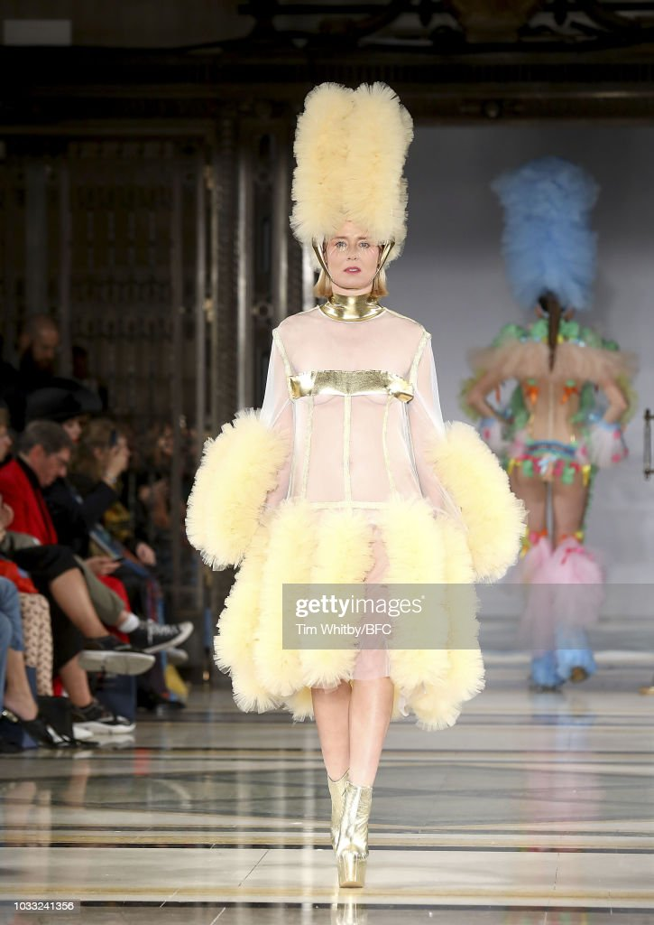 Roisin Murphy walks the runway at the Pam Hogg Show during London Fashion Week September 2018 at Freemasons Hall on September 14, 2018 in London, England.
