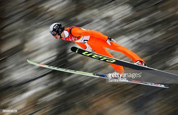 Rok Benkovic of Slovenia competes in the Large Hill Individual Ski Jumping Final on Day 8 of the 2006 Turin Winter Olympic Games on February 18 2006...