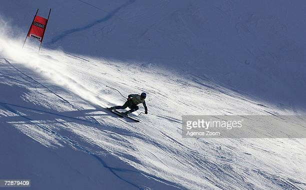 Rok Perko from Slovenia during the FIS Skiing World Cup Men's Downhill training on December 27 2006 in Borimo Italy