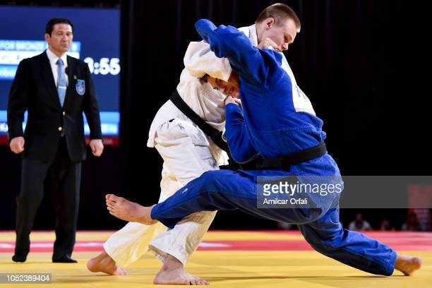 Rok Pogorevc of Slovakia competes against Zsombor Veg of Hungary in Men's 100 kg Contest for Bronze Medal B during Day 3 of Buenos Aires 2018 Youth...