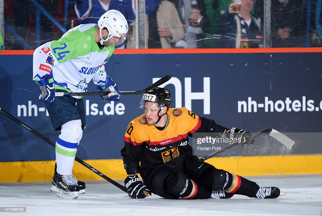 Rok Ticar of Team Slovenia and Patrick Hager of Team Germany during the game between Germany and Slovenia on april 29, 2015 in Berlin, Germany.