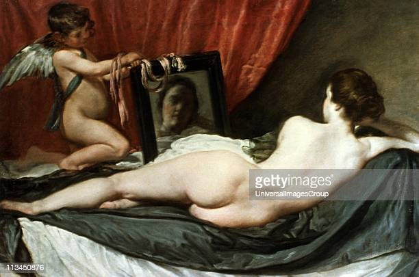 Rokeby Venus also called The Toilet of Venus Venus and Cupid Venus at her Mirror c16471651 Oil on canvas Diego Velasquez Spanish painter Damaged by...