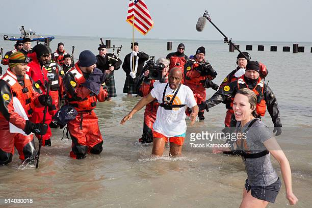 Roker and Dylan Dreyer take part in the 16th Annual Polar Plunge at North Avenue Beach on March 6 2016 in Chicago Illinois