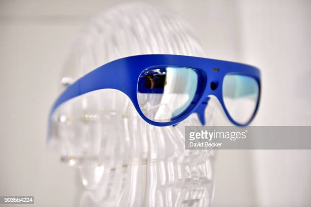 Rokid Glass augmented reality glasses are displayed at the Rokid booth during CES 2018 at the Las Vegas Convention Center on January 10 2018 in Las...