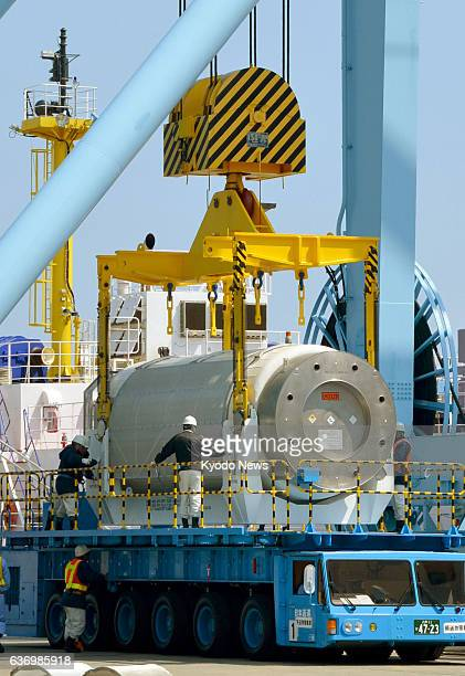 Rokkasho Japan Highly radioactive waste is unloaded from a vessel at Mutsu Ogawara port in Rokkasho Aomori Prefecture northeastern Japan for storage...