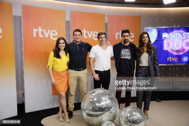 Roko Manu Tenorio Carlos Baute Alex Ubago and Nuria Roca attend the presentation of 'Fantastic Duo' Tv programme on May 8 2017 in Madrid Spain