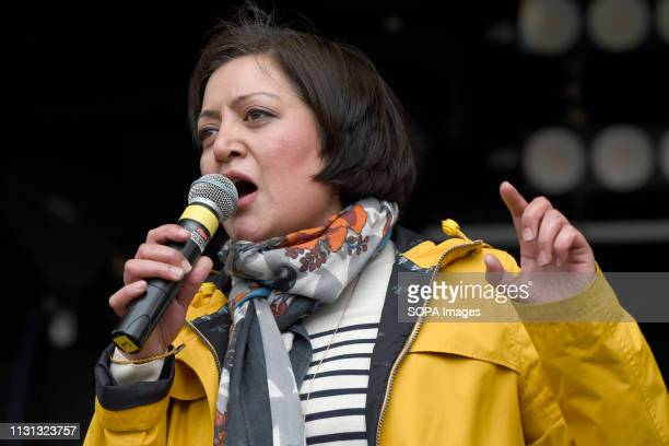 Roksana Fiaz Mayor of Newham seen speaking during an anti racist rally Antiracists gathered at Park Lane and marched through central London before...