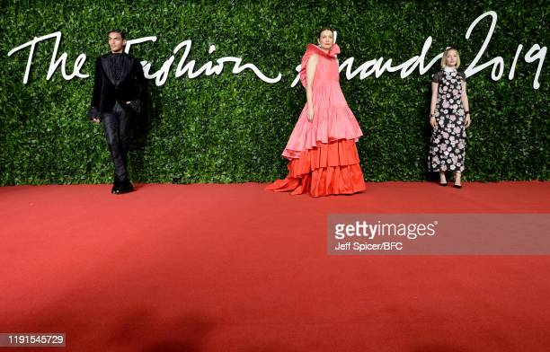 Roksanda Ilincic and Ellie Bamber arrive at The Fashion Awards 2019 held at Royal Albert Hall on December 02 2019 in London England