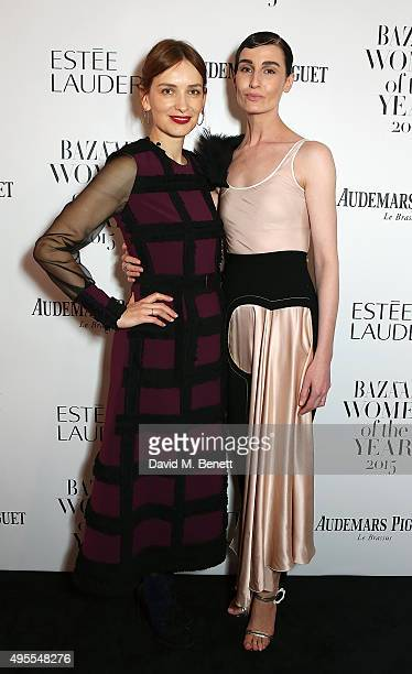 Roksanda Ilincic and Erin O'Connor attend the Harper's Bazaar Women of the Year Awards 2015 at Claridges Hotel on November 3 2015 in London England
