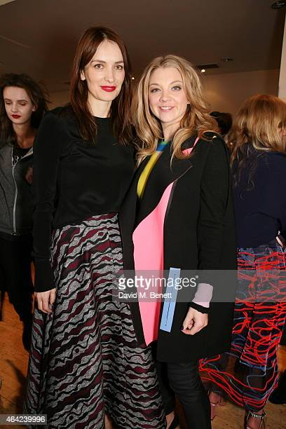 Roksanda Ilincic and Natalie Dormer attends the Roksanda show during London Fashion Week Fall/Winter 2015/16 at Seymour Hall on February 23 2015 in...