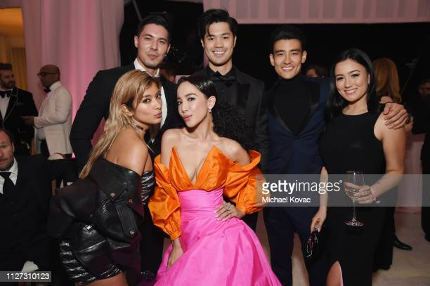 Rola Lewis Tan Fiona Xie Rob Bulter Alex Landi Jennifer Randi attend the 27th annual Elton John AIDS Foundation Academy Awards Viewing Party...