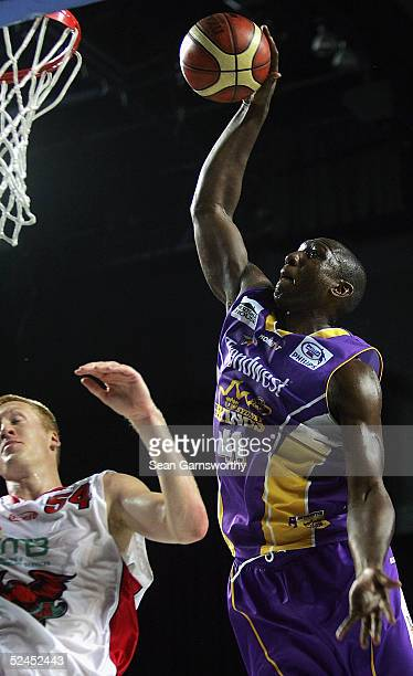 Rolan Roberts for the Kings in action during game 3 of the NBL Finals Series between the Sydney Kings and Wollongong Hawks at the Sydney...