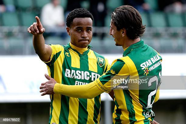 Roland Alberg of ADO Den Haag Aleksandr Iakovenko of ADO during the Dutch Eredivisie match between ADO Den Haag and FC Utrecht at Kyocera stadium on...