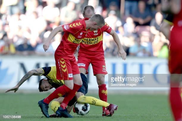 Roland Baas of Go Ahead Eagles Mario Engels of Roda JC Istvan Bakx of Go Ahead Eagles during the Dutch Keuken Kampioen Divisie match between Go Ahead...