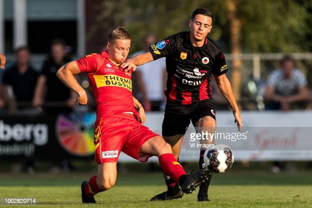 Roland Baas of Go Ahead Eagles Redouan El Hankouri of Excelsior during the Friendly match between Go Ahead Eagles and Excelsior Rotterdam at...