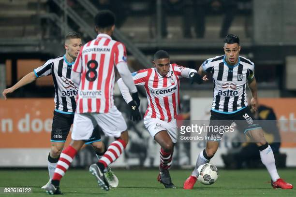 Roland Baas of Heracles Almelo Deroy Duarte of Sparta Rotterdam Joey Pelupessy of Heracles Almelo during the Dutch Eredivisie match between Heracles...