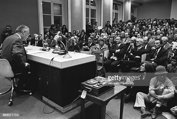 Roland Barthes making his inaugural speech at the College de France. He held the Semiology chair at the College de France from 1977 to 1980