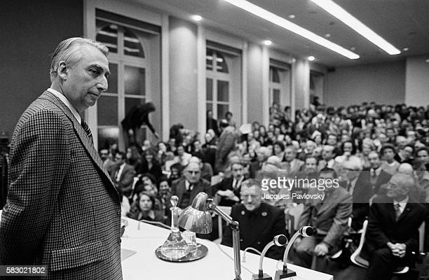 Roland Barthes, writer, critic and teacher, delivers a speech for his appointment as a professor at the College de France.