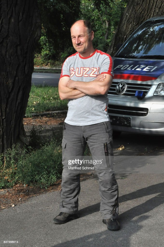 Roland Dueringer poses during a set visit for 'Cops' at Dusika Stadion on August 22, 2017 in Vienna, Austria.