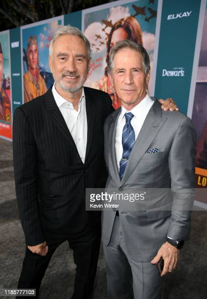 """Roland Emmerich and Jon Feltheimer attend the premiere of Lionsgate's """"Midway"""" at Regency Village Theatre on November 05, 2019 in Westwood,..."""
