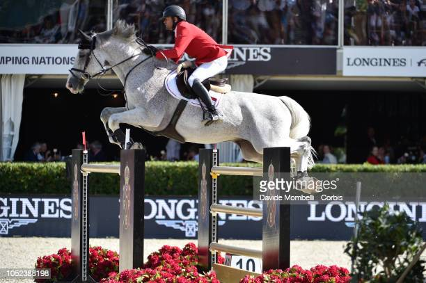 Roland Englbrecht of Austria riding Chambery during Longines FEI Jumping Nations Cup Final Competition on October 7 2018 in Barcelona Spain