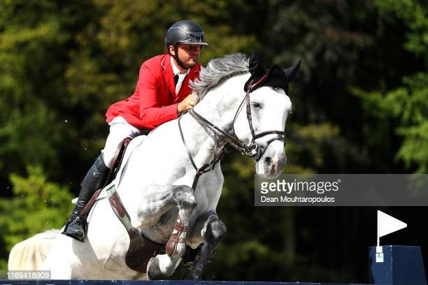 Roland Englbrecht of Austria riding Mevisto's Corwinni competes during Day 3 of the Longines FEI Jumping European Championship speed competition...