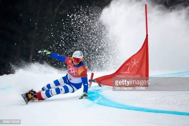 Roland Fischnaller of Italy in action during the Men's Snowboard Parallel Giant Slalom competition at Phoenix Snow Park on February 24, 2018 in...