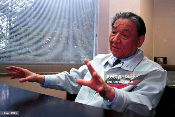 Roland founder Ikutaro Kakehashi speaks during the Asahi Shimbun interview on February 22 2000 in Hosoe Shizuoka Japan