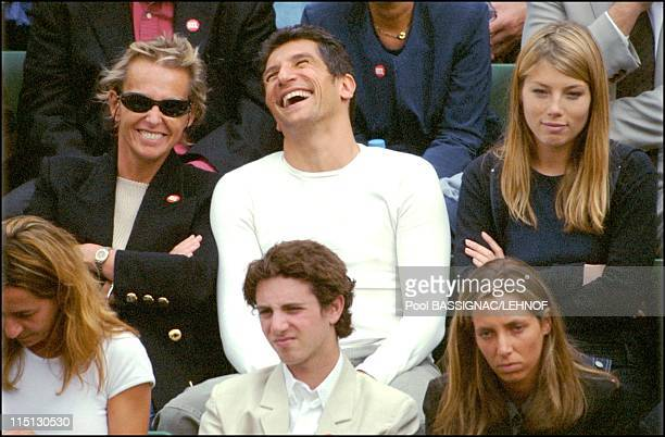 Roland Garros French open semifinals in Paris France on June 08 2001 Christine Ockrent Nagui and Melanie Page
