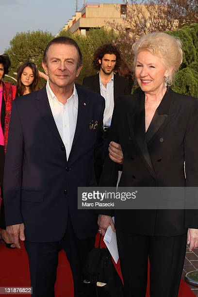 Roland Giraud and Maaike Jansen attend the 25th Moliere Awards Ceremony on April 17 2011 in Creteil France