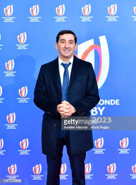 Roland Gomaz- Directeur General Proman arrives during the Rugby World Cup France 2023 draw at Palais Brongniart on December 14, 2020 in Paris, France