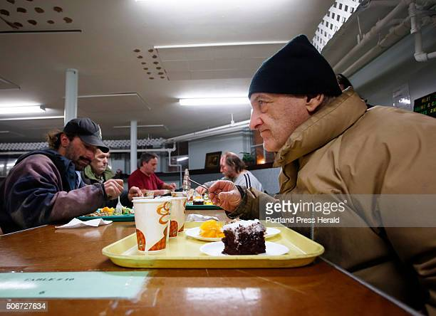 Roland Hamel of Lewiston gets ready to dig into his City Mission meal at Calvary United Methodist Church on Wednesday January 6 2016 They call me the...