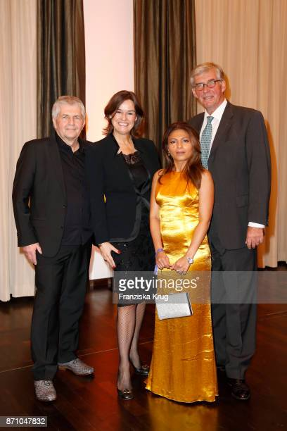 Roland Jahn Virginia Thieman Ensaf Haidar and Rudolf Thiemann attend the VDZ Publishers' Night at Deutsche Telekom's representative office on...