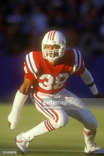 Roland James of the New England Patriots in position during a football game against the Dallas Cowboys on November 15 1987 at Gillette Stadium in...