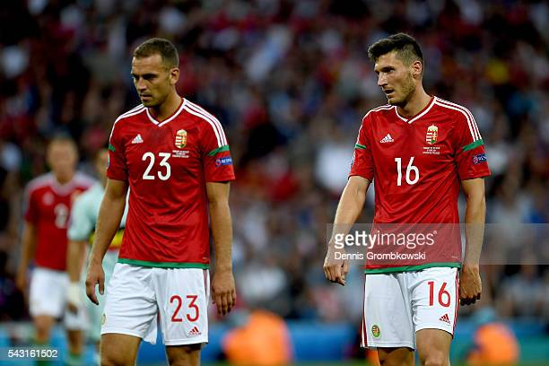 Roland Juhasz and Adam Pinter of Hungary react during the UEFA EURO 2016 round of 16 match between Hungary and Belgium at Stadium Municipal on June...
