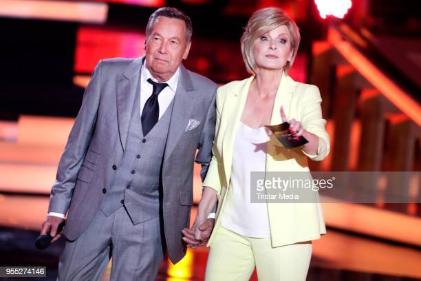 Roland Kaiser and Carmen Nebel during the tv show 'Willkommen bei Carmen Nebel' at SachsenArena on May 5 2018 in Riesa Germany