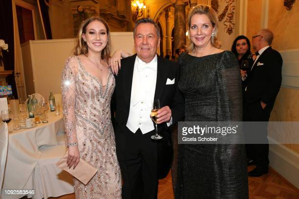 Roland Kaiser and his daughter Annalena Kaiser and his wife Silvia Kaiser during the Semper Opera Ball 2019 at Semperoper on February 1 2019 in...