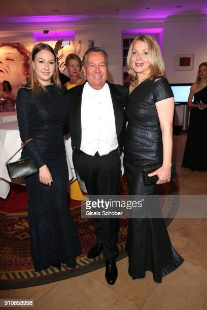 Roland Kaiser and his daughter Annalena Kaiser and his wife Silvia Kaiser during the Semper Opera Ball 2018 reception at Hotel Taschenbergpalais near...