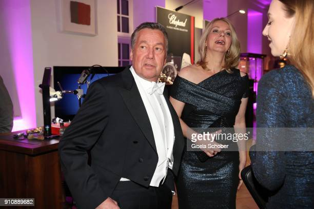 Roland Kaier and his wife Silvia Kaiser during the Semper Opera Ball 2018 reception at Hotel Taschenbergpalais near Semperoper on January 26 2018 in...