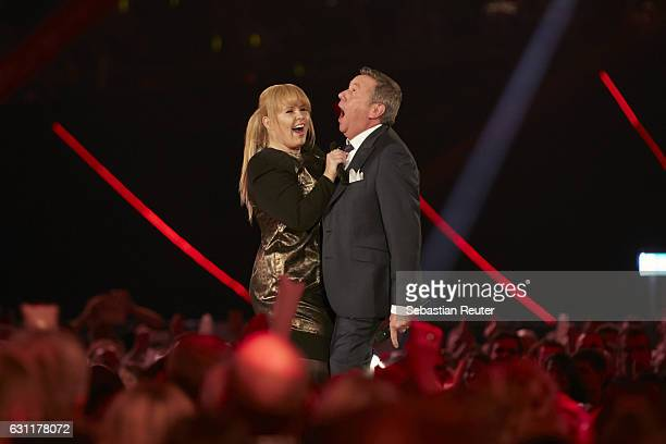 Roland Kaiser and Maite Kelly are seen on stage at the 'Das grosse Fest der Besten' tv show at Velodrom on January 7 2017 in Berlin Germany