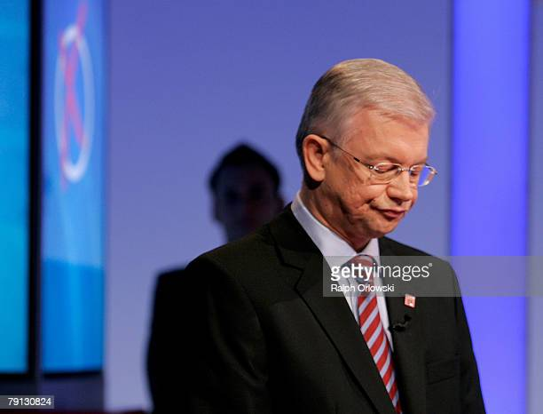 Roland Koch Governor of the German state of Hesse and chief of the Christian Democratic Party of Hesse attends a television debate with his...