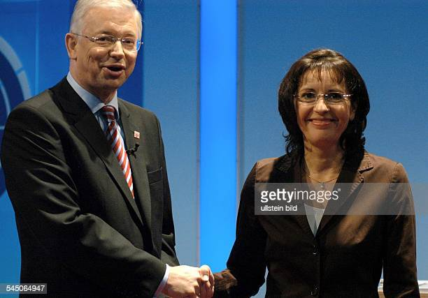 Roland Koch Politician Prime Minister of Hesse CDU Germany with Andrea Ypsilanti SPD