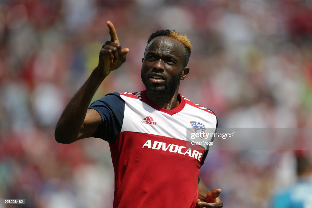 Roland Lamah of FC Dallas celebrates after scoring the second goal of his team during the Major Soccer League match between Dallas FC and LA Galaxy at Toyota Stadium on May 12, 2018 in Frisco, Texas.